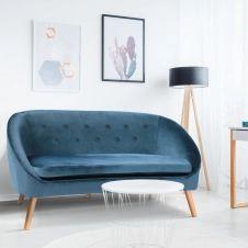 Canapé banquette en velours Sonia bleu