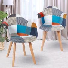 Lot de 2 fauteuils motifs patchworks multi-couleurs