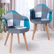 Lot de 2 fauteuils motifs patchworks bleus