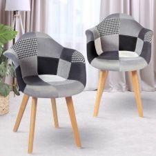 Lot de 2 fauteuils motifs patchworks noirs, gris et blancs