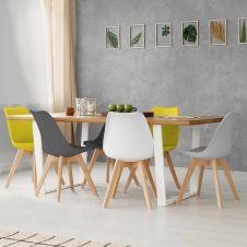 Lot de 6 chaises SARA mix color gris clair, blanc, gris foncé x2, jaune x2