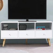 Meuble TV Effie scandinave 3 tiroirs bois blanc