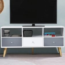 Meuble TV Effie scandinave 3 tiroirs bois blanc et gris