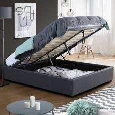 Lit coffre MIAMI PVC gris avec sommier 140 x 190 cm