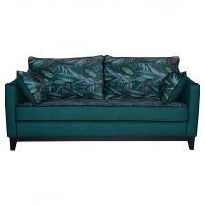 Canapé 3 places réversible tissu imprimé végétal bleu paon HARRISON – Miliboo & Stéphane Plaza