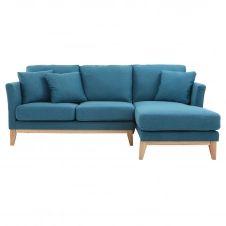 Canapé d'angle droit scandinave bleu canard déhoussable OSLO