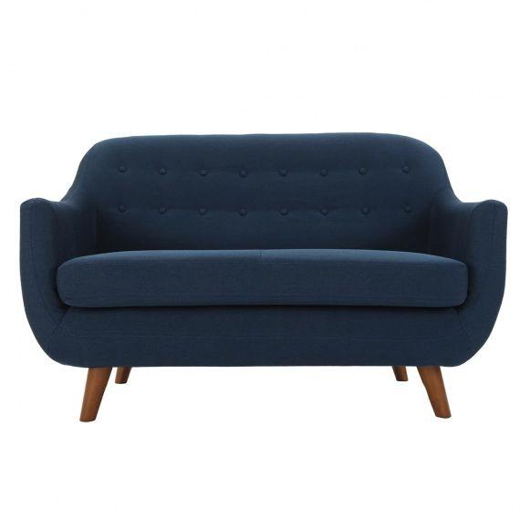 Canapé 2 places design déhoussable bleu YNOK