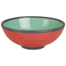 Coupelle en faïence verte et rouge