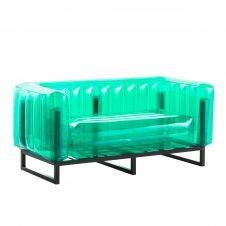 Canapé cadre aluminium assise thermoplastique vert crystal