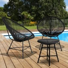 Salon de jardin IZMIR table et 2 fauteuils œuf cordage noir