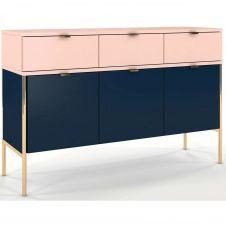 Commode 3 tiroirs 3 portes bleu et rose h78cm