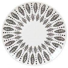 Assiette plate en porcelaine noire et blanche à motifs