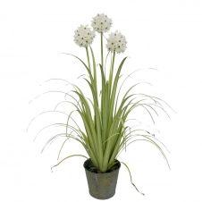 Agapanthe artificielle à fleurs blanches pot en zinc H99cm