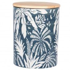 Pot en faïence blanche et bleu clair motif végétal et couvercle en chêne H16