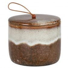 Boîte en porcelaine marron et blanche