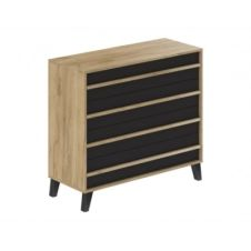 Commode 4 tiroirs OTAWA style industriel imitation chêne et noir