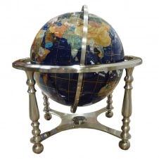 Globe terrestre sur 4 pieds acier en pierres fines bleu lapis