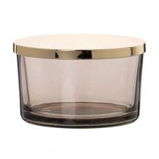 Boîte en verre teinté gris et métal doré