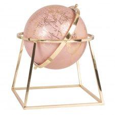 Globe terrestre carte du monde rose et métal doré