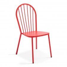 Chaise bistrot en métal rouge