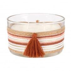 Bougie parfumée en verre et cordes