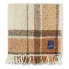 Plaid Checked Bouclé Wool Mix 130×170 cm Blanc-beige
