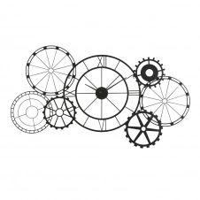 Horloge à rouages en métal noir mat 141×72