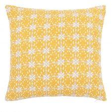 Housse de coussin en coton jaune 40×40