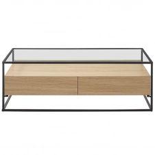 Table basse design avec plateau verre et tiroirs bois FINN