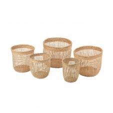 Set de 5 paniers en rotin et bambou – Beige