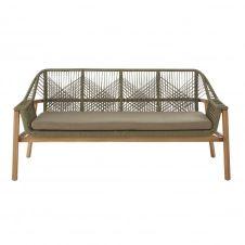 Canapé de jardin 3 places en corde tressée vert kaki et acacia massif Knock