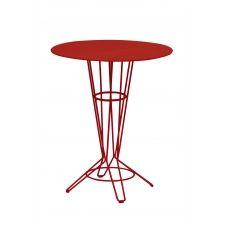 NOSTRUM – Table haute en acier rouge vin D80