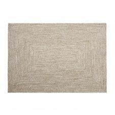 Tapis d'extérieur en polyester recyclé beige 140×200