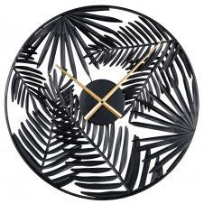 Horloge feuillage en métal noir D55
