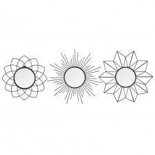 Ensemble de 3 miroirs ronds en métal D25