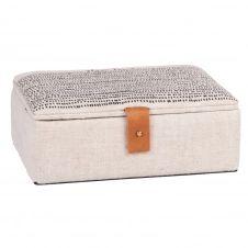 Boîte à bijoux en ramie et coton beiges et noirs