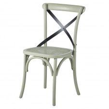 Chaise en rotin et bouleau vert clair mat et métal noir