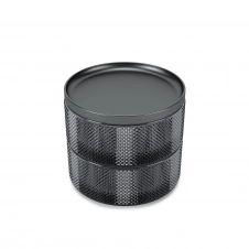Boîte à bijoux 2 compartiments en verre fumé et métal noir