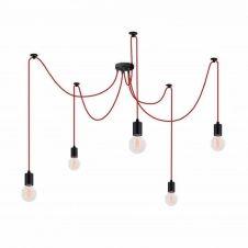 Suspension 5 lumières rouge avec ampoules modulable
