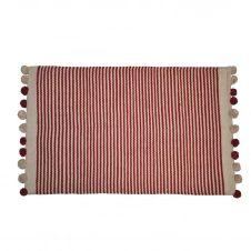 Tapis de bain à fines rayures et pompons bicolores