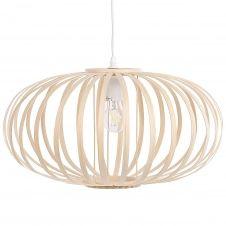 Lampe suspension ovale en bambou clair