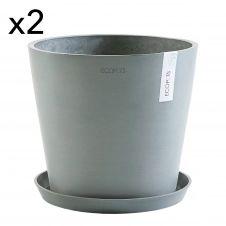 Lot de 2 pots de fleurs avec soucoupe bleu gris D30