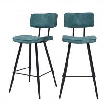 Chaise de bar mi-hauteur 65 cm en cuir synthétique bleu (x2)