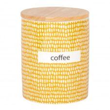 Pot en porcelaine jaune motifs graphiques et couvercle en hévéa H15