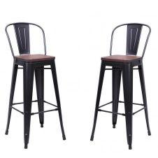 2 Chaises de bar en acier gris et bois foncé