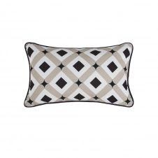 Coussin d'extérieur motifs géométriques taupe, écrus et noirs 30×50