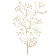 Déco murale branche en métal doré