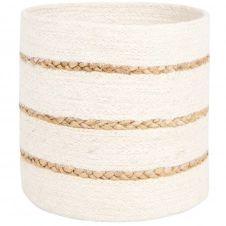 Paniers en fibre végétale blanche 3 bandes en jute H24 (x2)