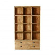 Bibliothèque 12 casiers 4 tiroirs pin massif bois vieilli