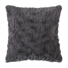 Coussin imitation fourrure gris moyen 45×45